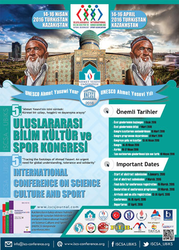 5th International Conference on Science Culture and Sport Conference Poster